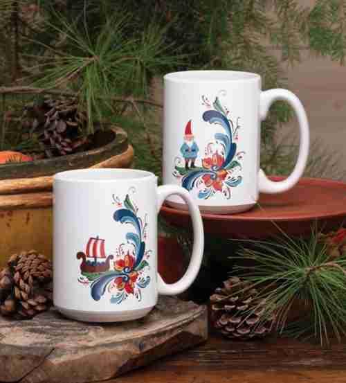 Rosemaling Ceramic Mugs