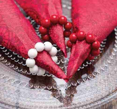 Red Bead Napkin Rings