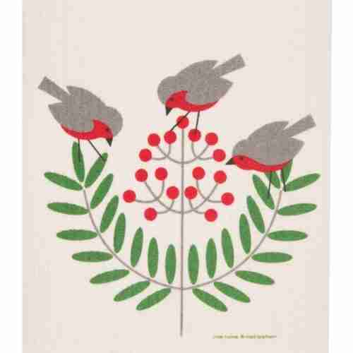 Swedish Dishcloth - Birds and Holly