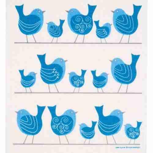 Swedish Dishcloth - Bluebirds