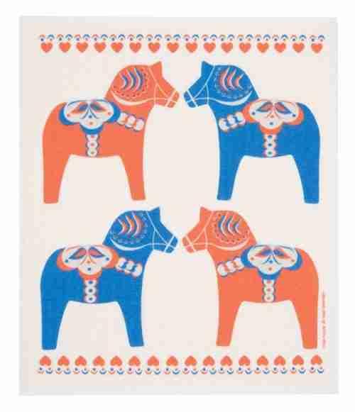 Swedish Dishcloth - Dala Horse
