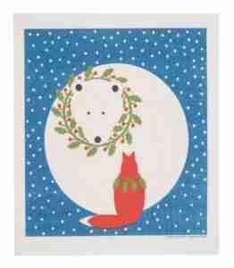 Swedish Dishcloth - Fox w/Wreath