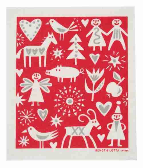 Klippan of Sweden Merry Christmas Pattern Dishcloth