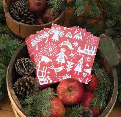 Klippan of Sweden Merry Christmas Pattern Napkin