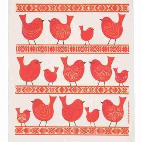Swedish Dishcloth - Red Birds
