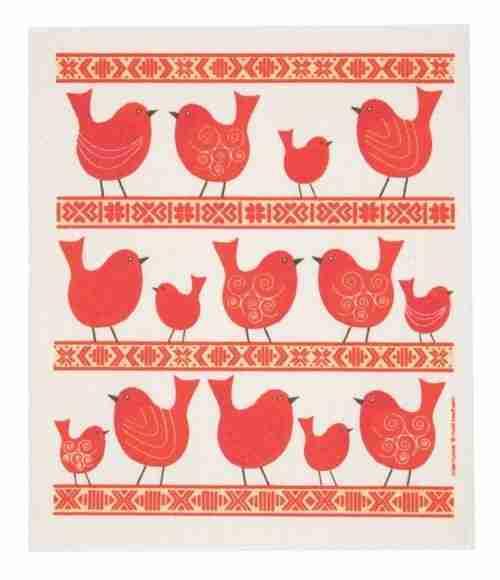 Swedish Dishcloth - Red Birds