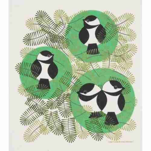 Swedish Dishcloth - Chickadees