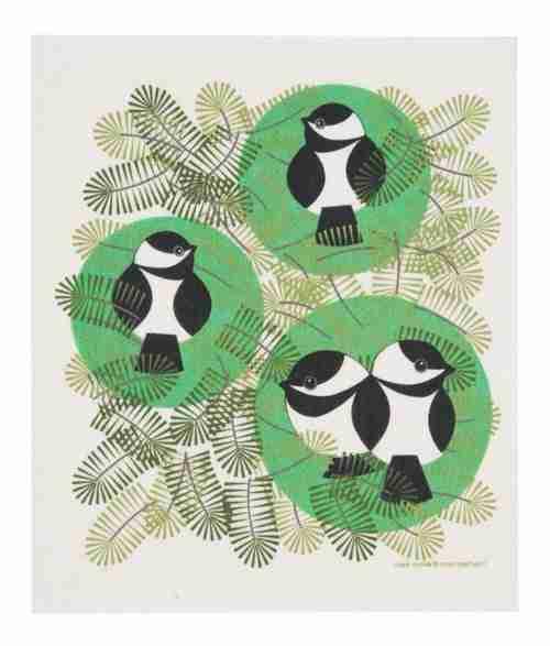 Swedish Dishcloth - Chickadees