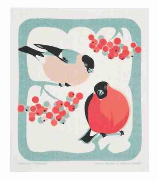 Swedish Dishcloth - Birds in Holly