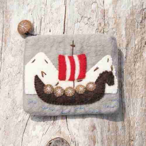 Felt Viking Ship Coin Purse