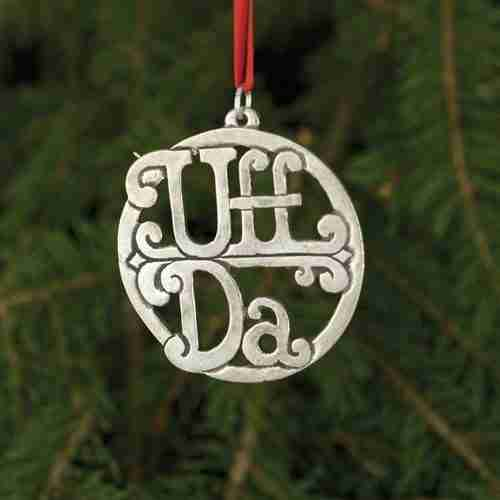 Norwegian Pewter Uff Da Ornament