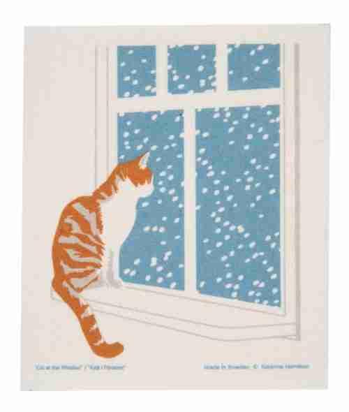 Swedish Dishcloth - Cat in the Window