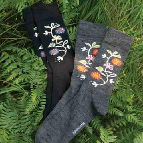 Merino Wool Swedish Socks - Bloom Pattern
