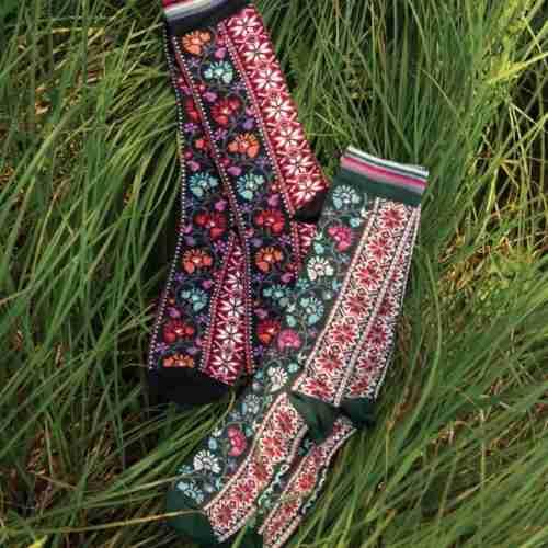Merino Wool Swedish Socks - Floral Ribbons