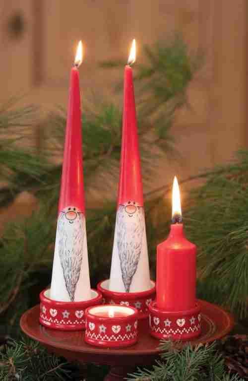 Danish Nisse Cone Candles
